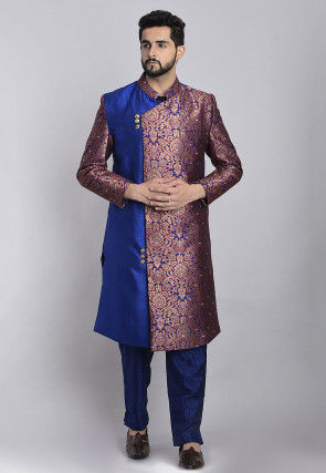 Banarasi Brocade Sherwani in Blue