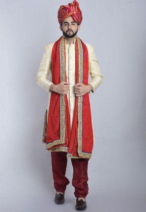 Banarasi Brocade Sherwani in Cream