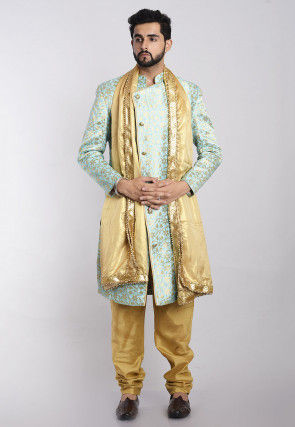 Banarasi Brocade Sherwani in Sea Green