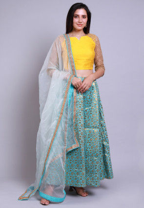 Banarasi Brocade Silk Lehenga in Light Teal Green