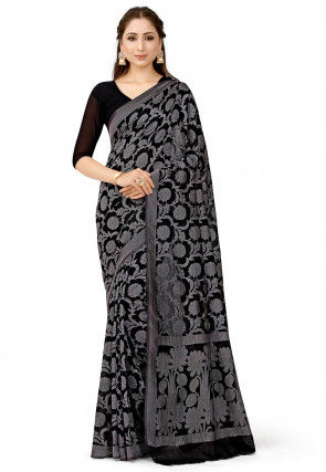 Banarasi Chiffon Saree in Black