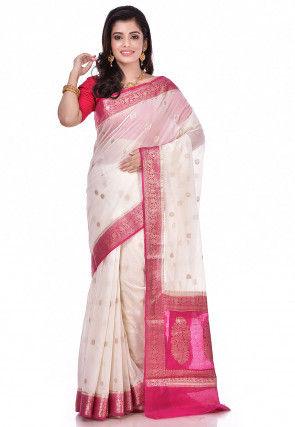 Banarasi Chiffon Saree in Cream