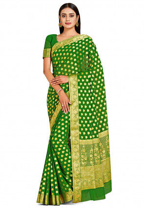 Banarasi Chiffon Saree in Green