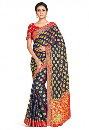 Banarasi Chiffon Saree in Navy Blue