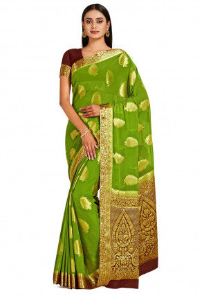 Banarasi Chiffon Saree in Olive Green
