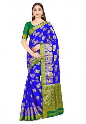 Banarasi Chiffon Saree in Royal Blue