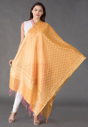 Banarasi Cotton Silk Dupatta in Mustard