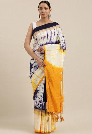 Banarasi Crepe Silk Shibori Saree in Multicolor