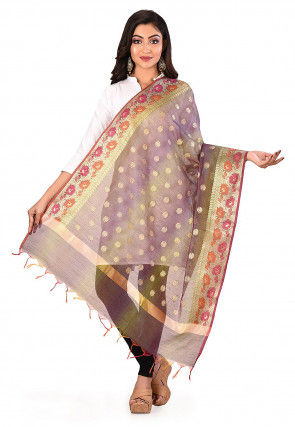Banarasi Dupatta in Dusty Violet and Yellow