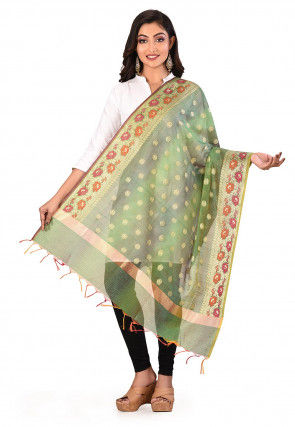 Banarasi Dupatta in Green and Grey