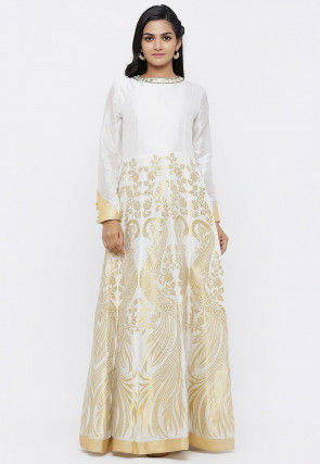Banarasi Anarkali Gown in Off White