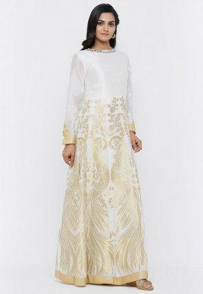 Banarasi Anarkali Gown Set in Off White