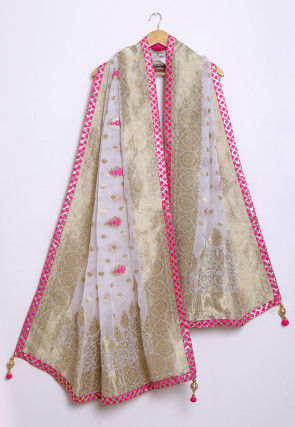 Banarasi Georgette Dupatta in Off White