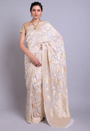 Banarasi Georgette Saree in White