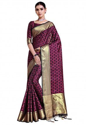 Banarasi Kota Silk Saree in Black