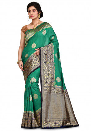 Banarasi Matka Silk Saree in Teal Green