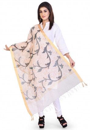 Banarasi Noil Silk Dupatta in Off White and Beige