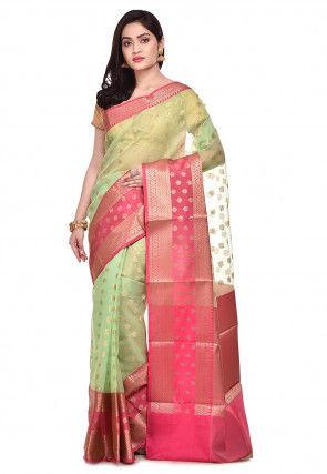 Banarasi Organza Silk Saree in Pastel Green