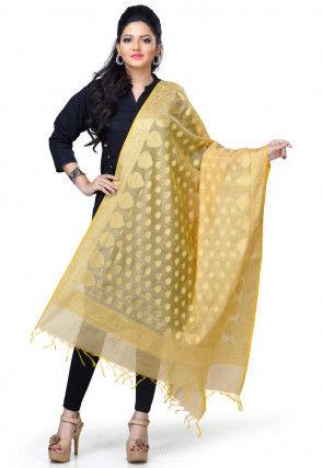 Banarasi Pure Chanderi Cotton Dupatta in Beige
