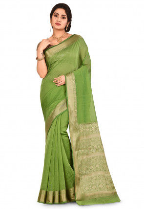 Banarasi Pure Chanderi Silk Saree in Green