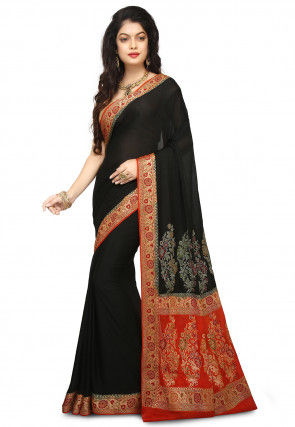 Banarasi Pure Georgette Silk Saree in Black