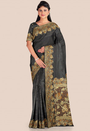 Banarasi Pure Katan Silk Saree in Charcoal