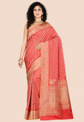 Banarasi Pure Katan Silk Saree in Coral Red