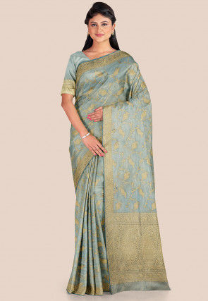 Banarasi Pure Katan Silk Saree in Light Grey