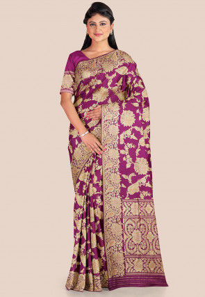 Banarasi Pure Katan Silk Saree in Magenta