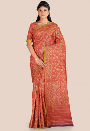 Banarasi Pure Katan Silk Saree in Orange