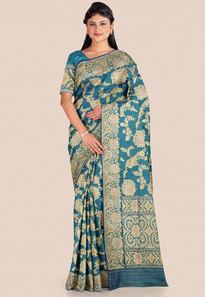 Banarasi Pure Katan Silk Saree in Teal Blue