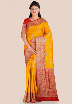 Banarasi Pure Katan Silk Saree in Yellow