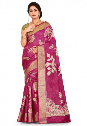Banarasi Pure Matka Silk Saree in Fuchsia