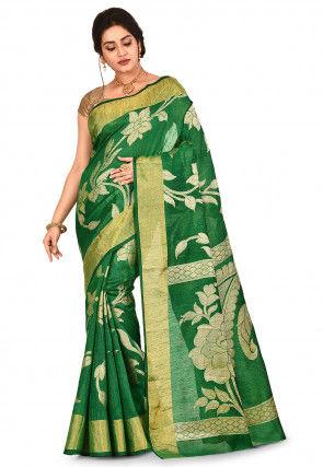 Banarasi Pure Matka Silk Saree in Green