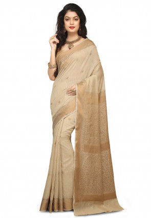 Banarasi Pure Muga Silk Saree in Beige