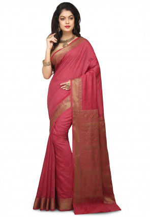 Banarasi Pure Muga Silk Saree in Coral Pink