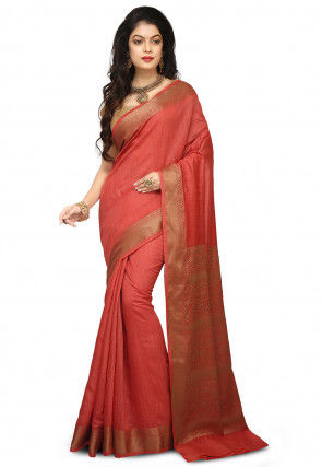 Banarasi Pure Muga Silk Saree in Coral Red