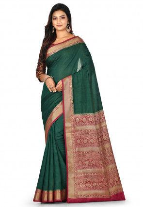 Banarasi Pure Muga Silk Saree in Dark Green