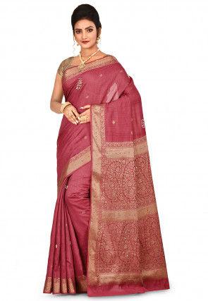 Banarasi Pure Muga Silk Saree in Dark Pink