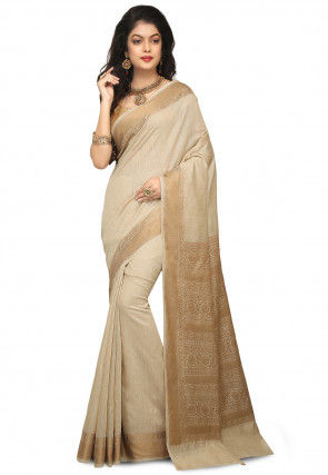 Banarasi Pure Muga Silk Saree in Light Beige