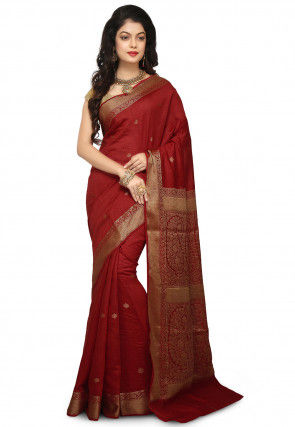 Banarasi Pure Muga Silk Saree in Maroon