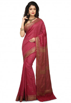 66412b341b8074 Pink Sarees: Buy Designer Pink Colour Saree Online | Utsav Fashion
