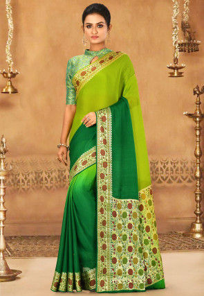 Banarasi Pure Silk Georgette Saree in Green Ombre