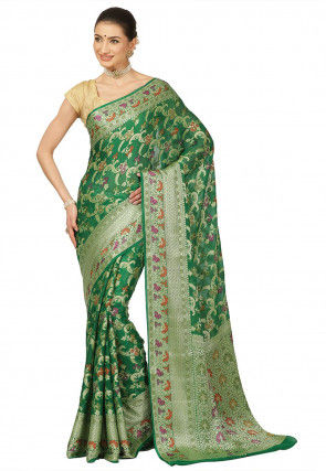 Banarasi Pure Silk Georgette Saree in Green