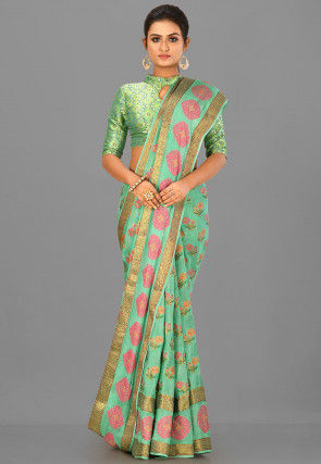 Banarasi Pure Silk Georgette Saree in Pastel Green