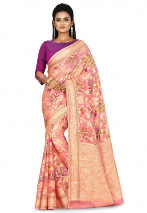 Banarasi Pure Silk Georgette Saree in Peach