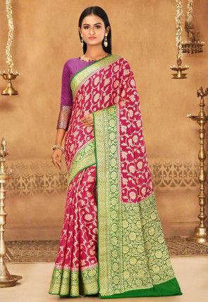 Banarasi Pure Silk Georgette Saree in Red