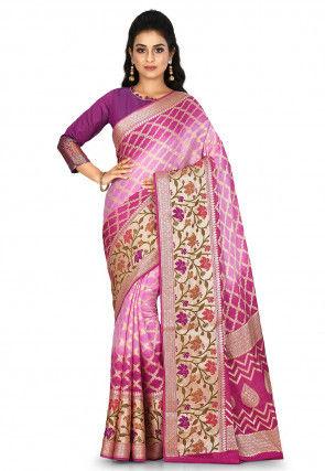 Banarasi Pure Silk Georgette Saree in Shaded Pink