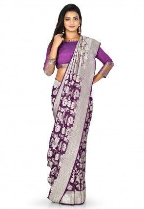 Banarasi Pure Silk Georgette Saree in Violet