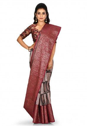 Banarasi Pure Silk Handloom Saree in Beige and Dark Green